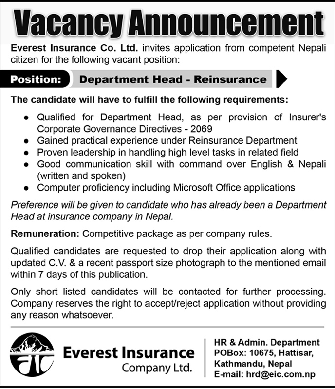 How Long Does Underwriting Take >> Vacancy Announcement published on Himalayan Times Daily. - Everest Insurance